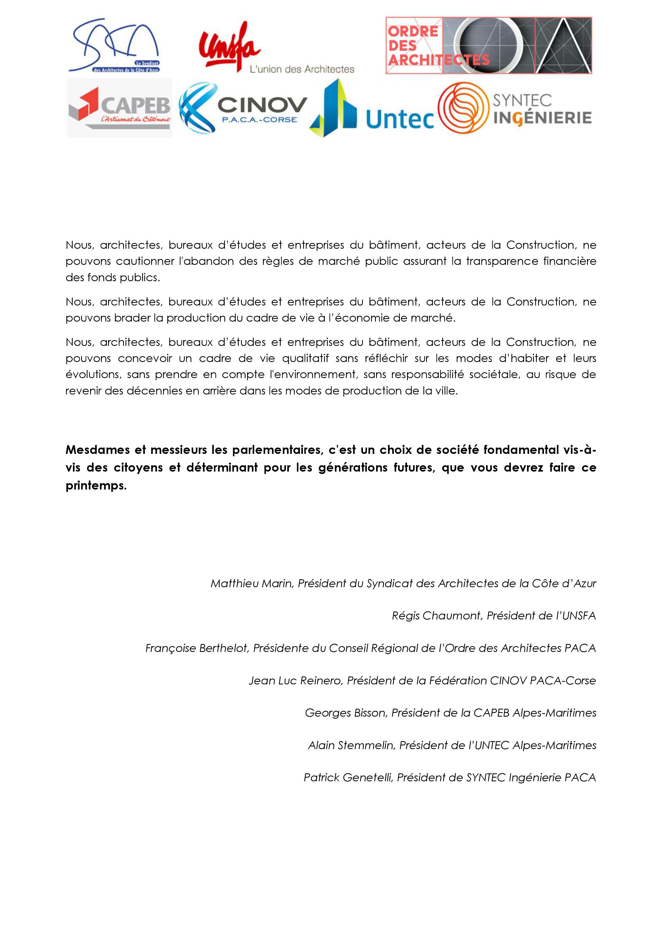 Le saca syndicat des architectes de la c te d 39 azur for Loi sur les constructions