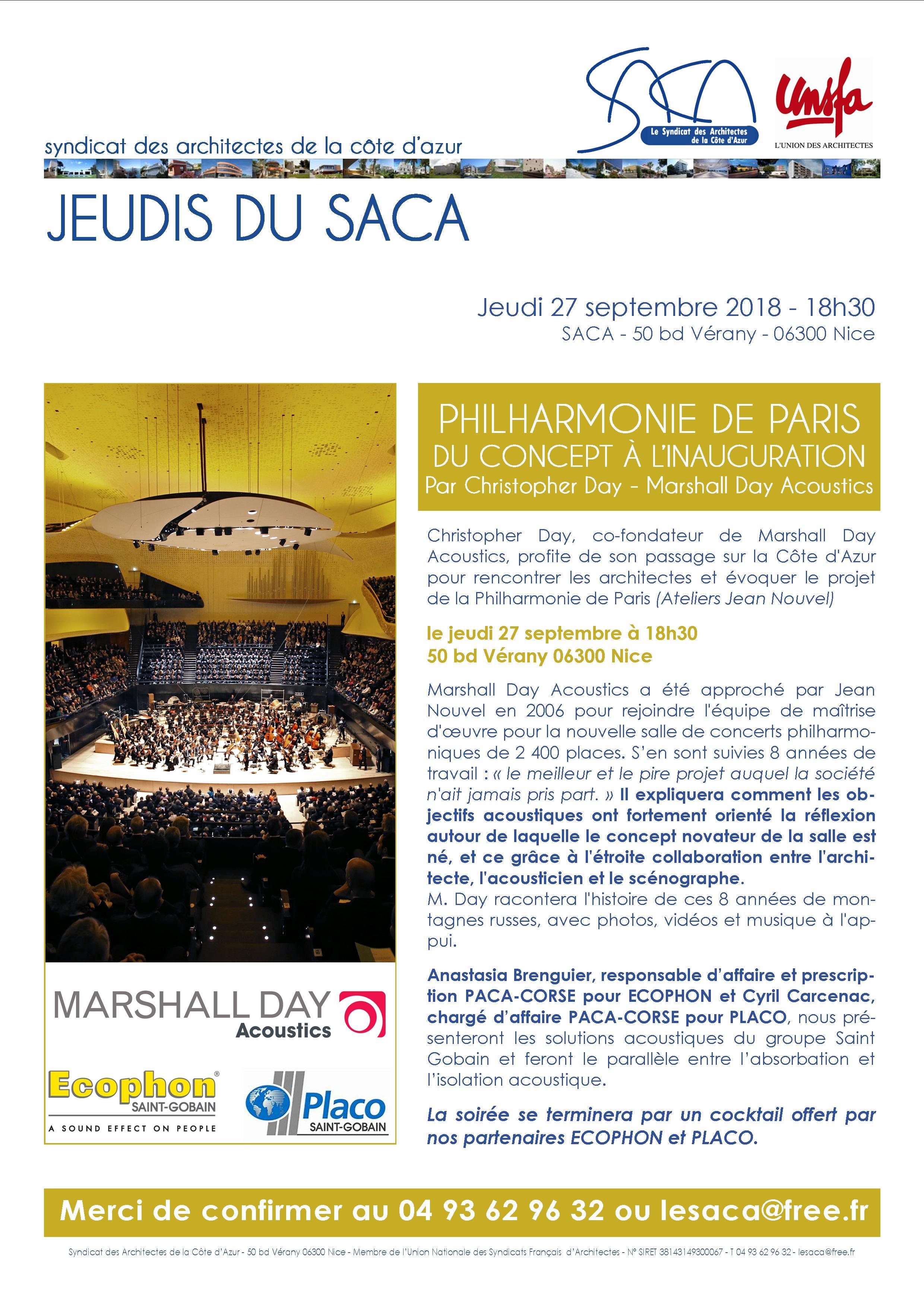 JEUDI DU SACA /// PHILHARMONIE DE PARIS, DU CONCEPT À L'INAUGURATION @ SACA | Nice | Provence-Alpes-Côte d'Azur | France