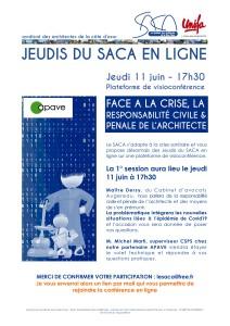 """JEUDI DU SACA EN LIGNE /// 11 JUIN A 17H30 /// """"FACE A LA CRISE, LA RESPONSABILITÉ CIVILE & PÉNALE DE L'ARCHITECTE"""""""