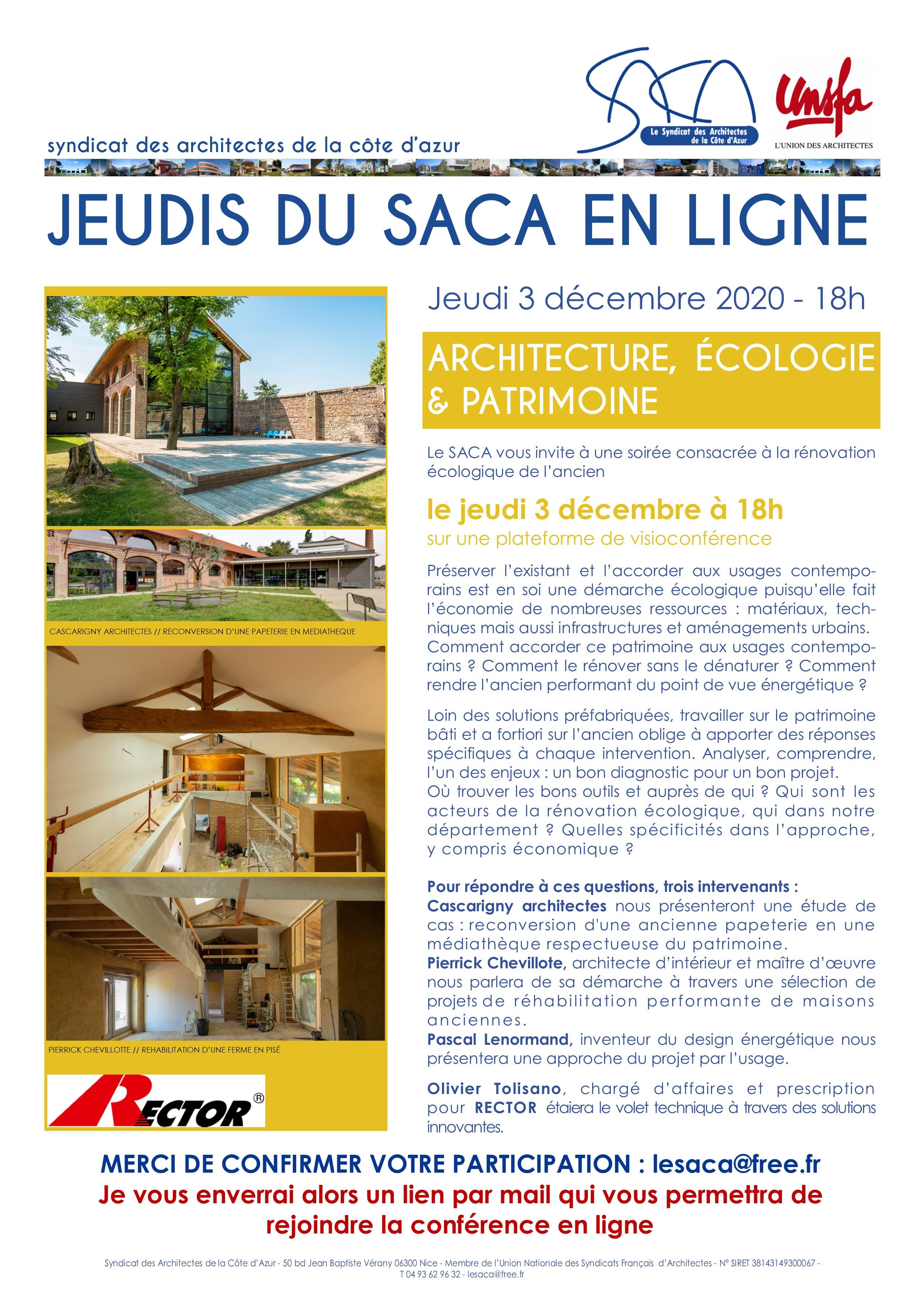 JEUDI DU SACA // ARCHITECTURE, ECOLOGIE & PATRIMOINE // 3 DEC 2020